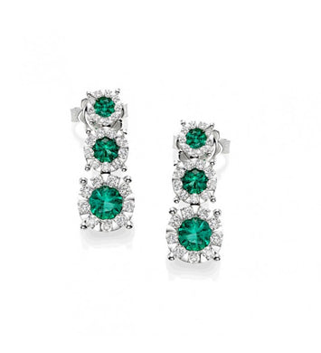 Piero Milano 18K White Gold Diamonds Emerald Earrings - Made in Paradise Luxury