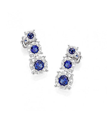 Piero Milano 18K White Gold Diamonds Blue Saphhires Earrings - Made in Paradise Luxury