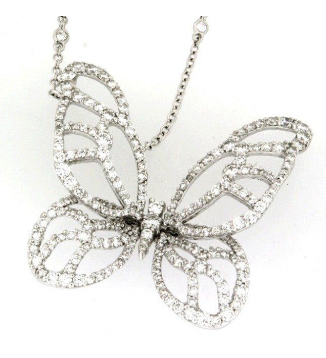 Piero Milano 18K White Gold Diamonds Butterfly Necklace - Made in Paradise Luxury