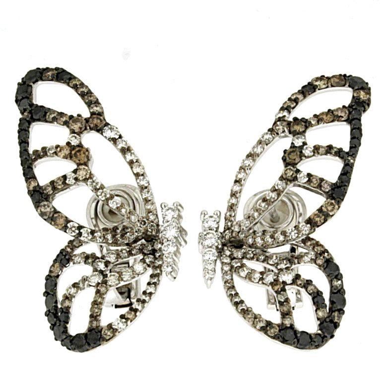 Piero Milano 18K White and Rhodium Gold Diamonds Butterfly Earrings - Made in Paradise Luxury