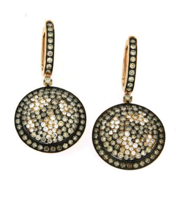 Piero Milano 18K Rose Gold Rhodium Black Diamonds Butterfly Motif Earrings - Made in Paradise Luxury