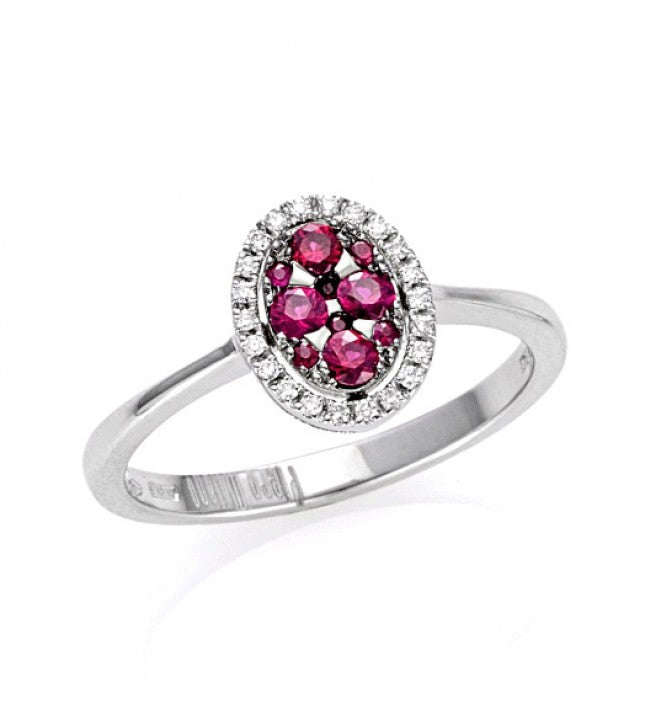 Piero Milano 18K White Gold Diamonds Rubies Ring - Made in Paradise Luxury