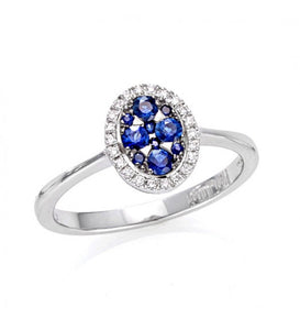 Piero Milano 18K White Gold Diamonds Blue Sapphires Ring - Made in Paradise Luxury