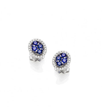 Piero Milano 18K White Gold Diamonds Blue Sapphires Earrings - Made in Paradise Luxury