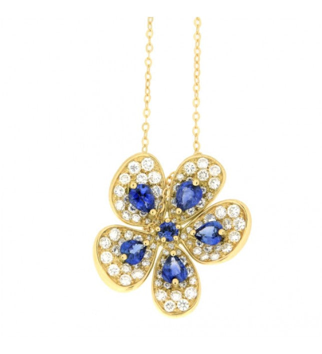 Piero Milano 18K Yellow Gold with Diamonds and Blue Sapphires Flower Necklace - Made in Paradise Luxury