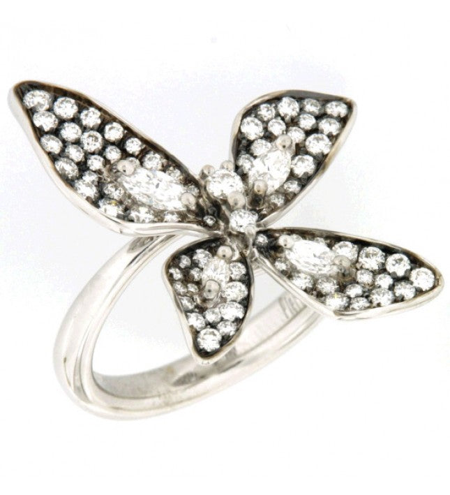 Piero Milano 18K White and Rhodium Black Gold Diamonds Butterfly Ring - Made in Paradise Luxury
