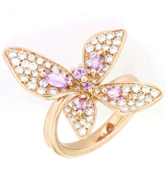 Piero Milano 18K Rose Gold Diamonds and Pink Sapphires Butterfly Ring - Made in Paradise Luxury