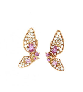 Piero Milano 18K Rose Gold Diamonds and Pink Sapphires Butterfly Earrings - Made in Paradise Luxury