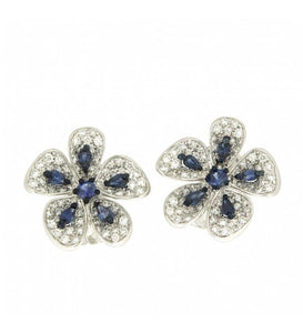 Piero Milano 18K White Gold with Diamonds and Blue Sapphires Flower Earrings - Made in Paradise Luxury