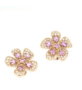 Piero Milano 18K Rose Gold Diamonds and Pink Sapphires Flower Earrings - Made in Paradise Luxury