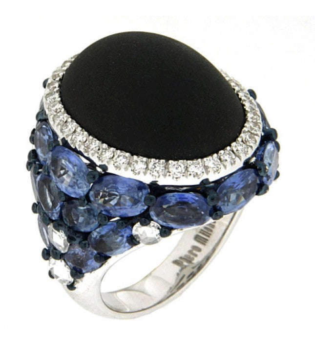 Piero Milano 18K White Gold with Diamonds, Black Onyx and Blue Sapphires Ring - Made in Paradise Luxury