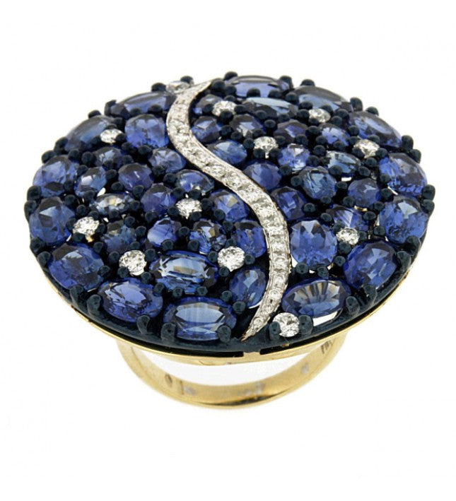 Piero Milano 18K White and Rhodium Black Gold Diamonds and Blue Sapphires Ring - Made in Paradise Luxury
