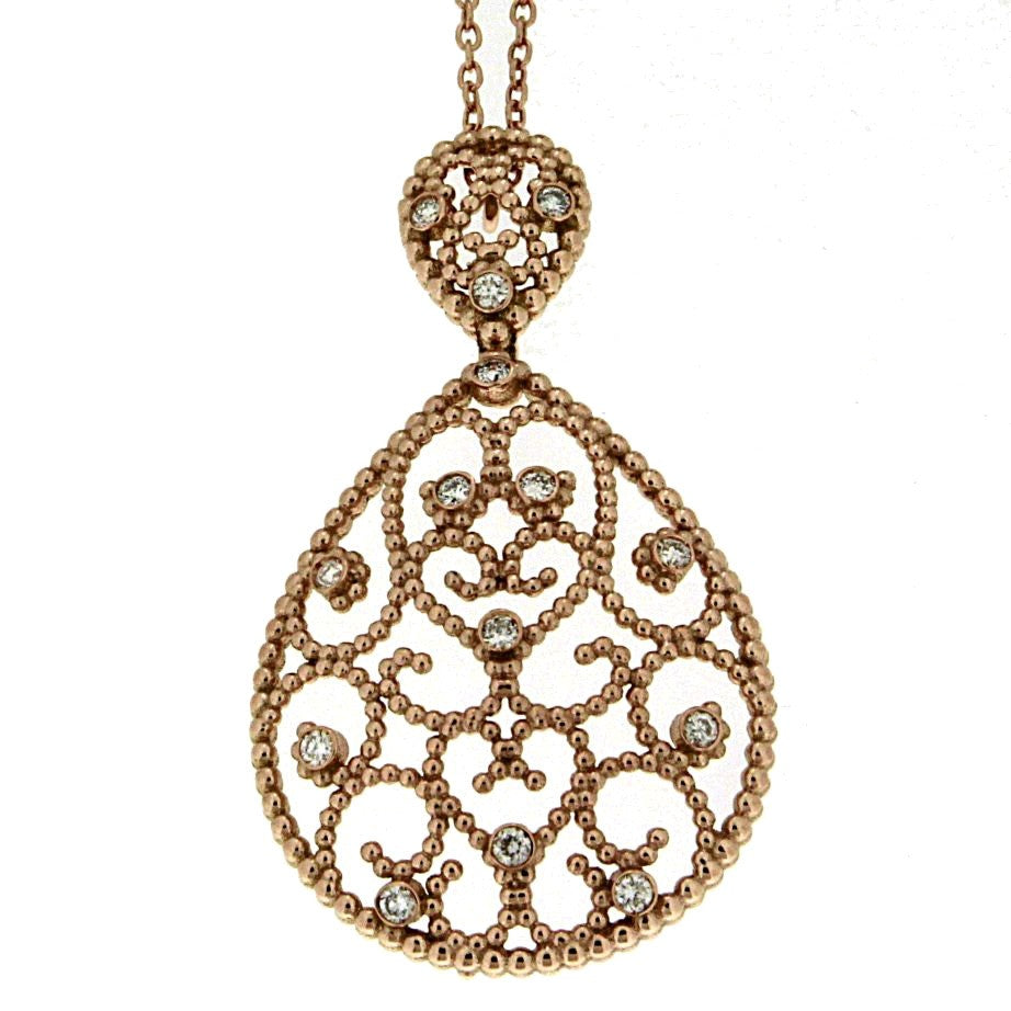 Piero Milano 18K Rose Gold Diamonds Necklace - Made in Paradise Luxury