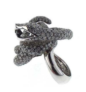 Paolo Piovan Snake in White Gold with Black and White Diamonds Ring - Made in Paradise Luxury