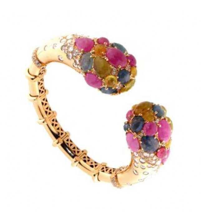 Verdi Gioielli 18K Rose Gold Diamonds and Gemstones Bangle - Made in Paradise Luxury