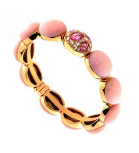 Verdi Gioielli 18K Rose Gold Sapphires and Pink Quartz Bangle - Made in Paradise Luxury