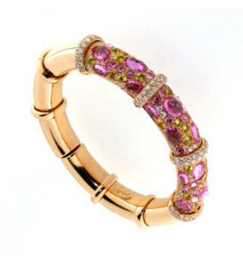 Verdi Gioielli 18K Rose Gold Pink Sapphires and Yellow Sapphires Diamonds Bangle - Made in Paradise Luxury
