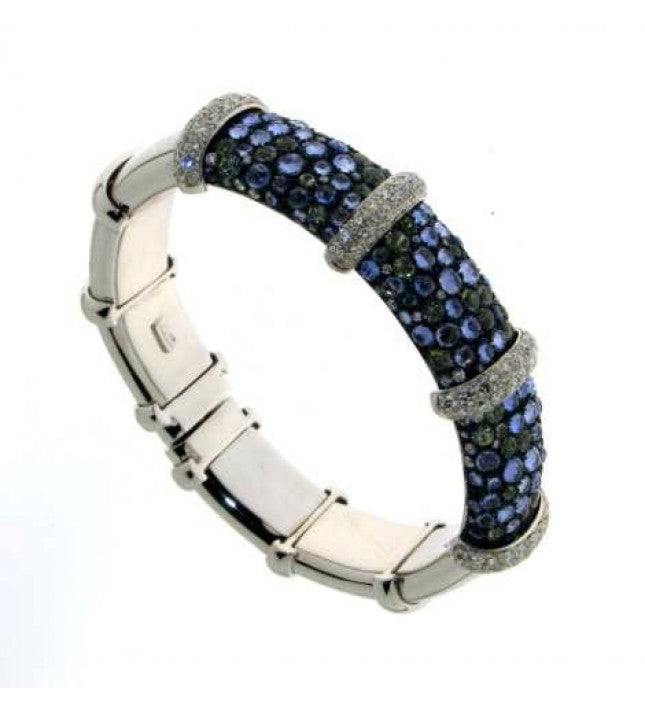Verdi Gioielli 18K White Gold Diamonds and Blue Sapphires Bangle - Made in Paradise Luxury