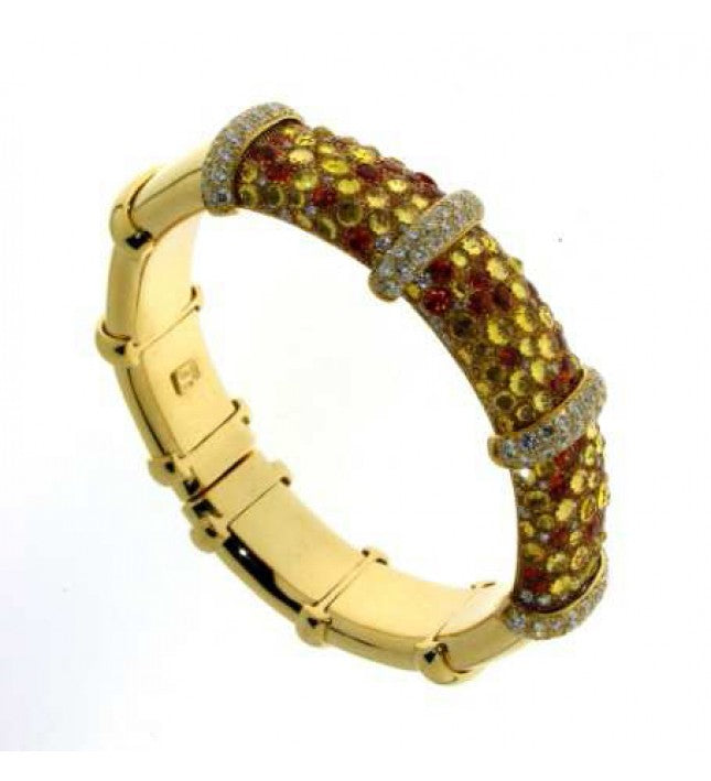 Verdi Gioielli 18K Yellow Gold with Diamonds and Sapphires Bangle - Made in Paradise Luxury
