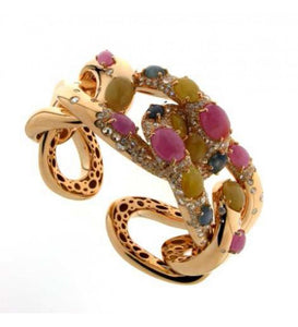 Verdi Gioielli 18K Rose Gold Diamonds and Gemstones Ring - Made in Paradise Luxury