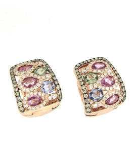 Piero Milano 18K Rose Gold Diamonds and Gemstones Earrings - Made in Paradise Luxury
