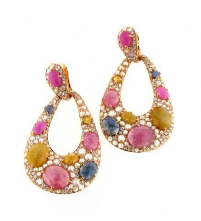 Verdi Gioielli 18K Rose Gold Diamonds and Gemstones Earrings - Made in Paradise Luxury