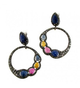 Verdi Gioielli 18K Rhodium Black Gold with Gemstones Earrings - Made in Paradise Luxury
