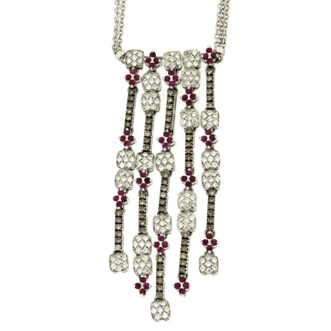 Piero Milano 18K White Gold Diamonds and Rubies Necklace - Made in Paradise Luxury