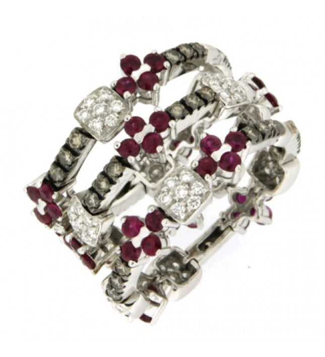 Piero Milano 18K White Gold Diamonds and Rubies Ring - Made in Paradise Luxury