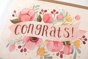 Four Wet Feet Studio - Pink Floral Congrats Card | Four Wet Feet Studio | | Arrow Women's Boutique