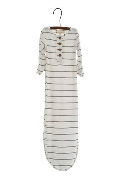 Knotted Gown-Onyx Stripe l Papillon Bebe | Papillon Bebe | | Arrow Women's Boutique
