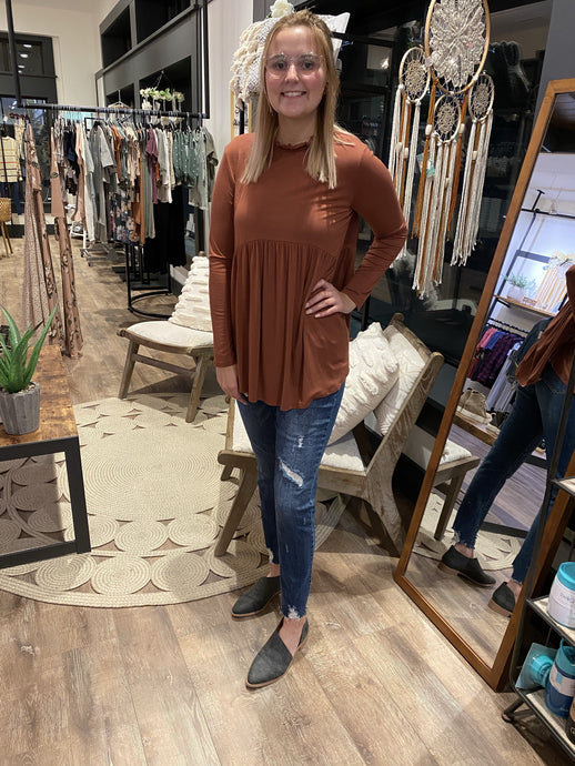 Mock Neck Babydoll Top | Hailey & Co | | Arrow Women's Boutique