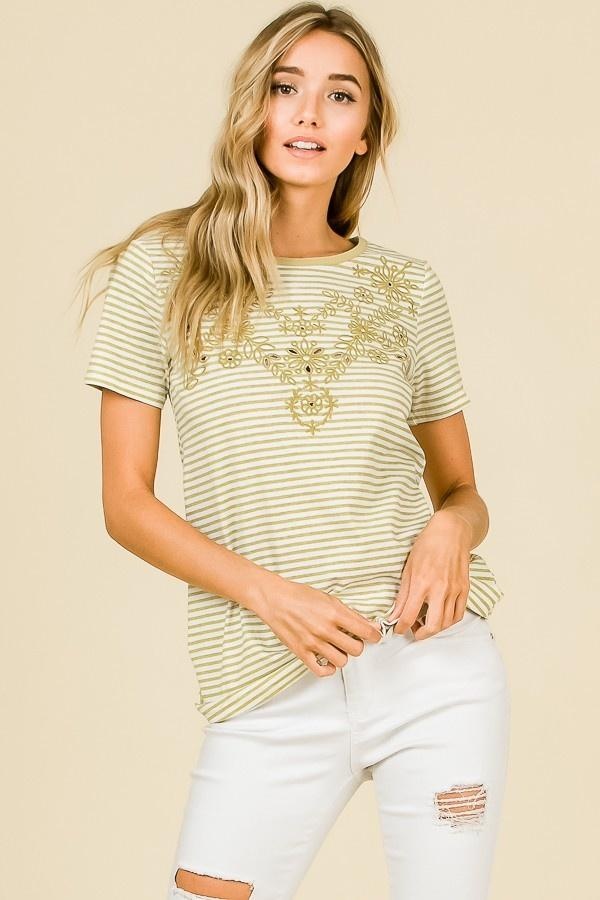Mustard Embroidered Top | Hailey & Co | | Arrow Women's Boutique
