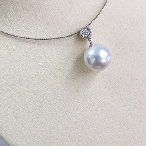 Wheel Collection 14.0-15.0 mm White South Sea Pearl & Diamond Pendant in G18k - takaramonobr