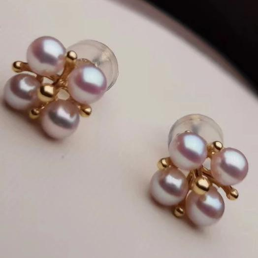 Multiple Pearls Series Cultured Japanese Baby Akoya Pearl Stud Earrings Mounted on 18K Gold - takaramonobr