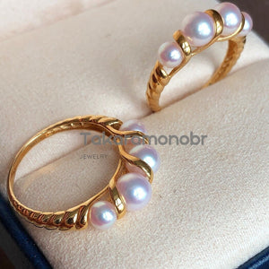 Warp Collection 4.0-6.0 mm Japanese Baby Akoya Pearl Ring for Women - takaramonobr