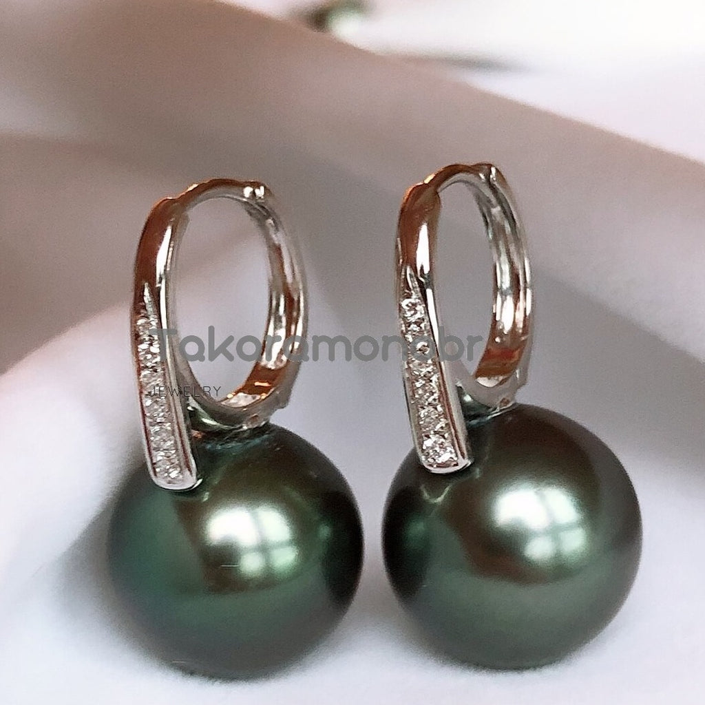 12.0-13.0 mm Tahitian Black Green Pearl & Diamond Earrings in G18k - takaramonobr