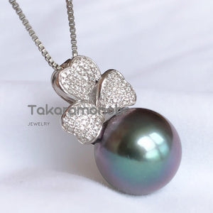 Sakura Collection 12.0-14.0 mm Tahitian Grey Pearl & Diamond Earrings/Pendant in 18K White Gold - takaramonobr