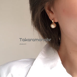 10.0-11.0 mm Golden South Sea Pearl Dangle Earrings Mounted on Solid 18-Karat Yellow Gold - takaramonobr