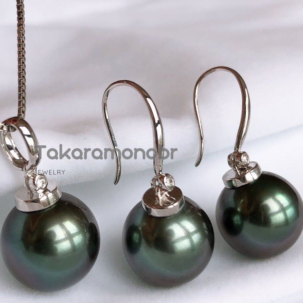 12.0-13.0 mm Tahitian Black Green Pearl & Diamond Earrings/Pendant in G18k for Women - takaramonobr