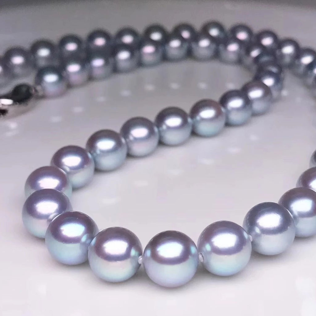 "8.0-8.5 mm AAA Silver Grey Akoya Pearl Necklace 24"" for Woman - takaramonobr"