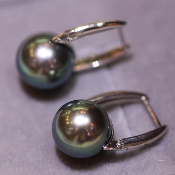 Bucket Collection 8.0-9.0mm Tahitian Black Pearl Earrings Mounted on G18k - takaramonobr