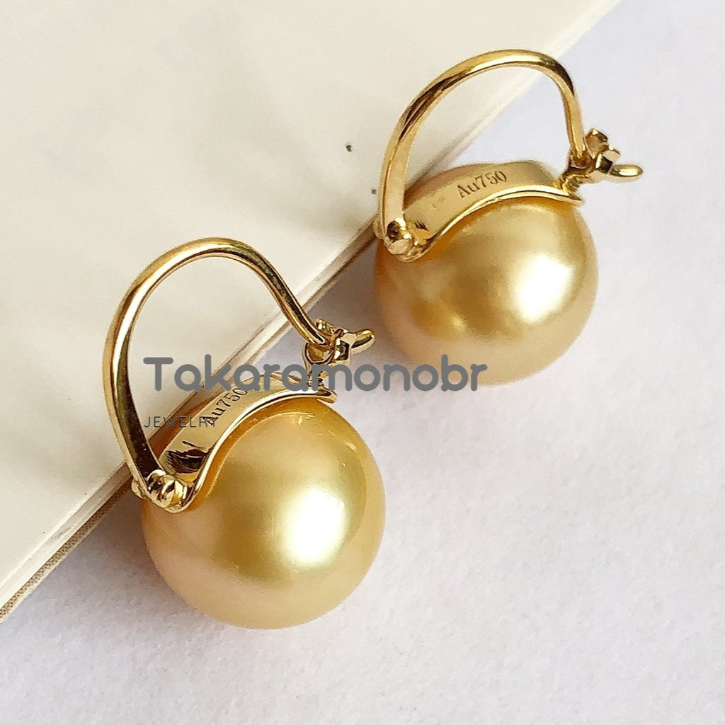 10.0-11.0 mm Golden Pearl Earrings Mounted on Solid 18-Karat Yellow Gold - takaramonobr