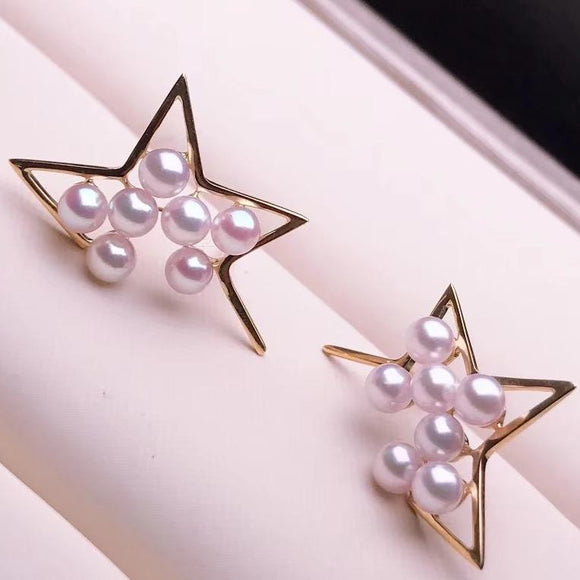 Star Collection Cultured Japanese Top Grade Baby Akoya Pearl Stud Earrings Mounted on 18K Gold - takaramonobr
