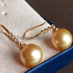 Load image into Gallery viewer, 10.0-11.0 mm Golden South Sea Pearl & Diamond Dangle Earrings on Solid 18-Karat Gold - takaramonobr