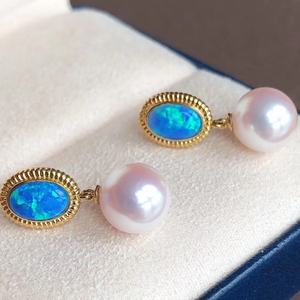 Romantic Collection 8.0-8.5 mm White Akoya Pearl & Opal Earrings - takaramonobr