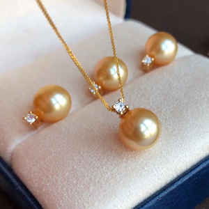 Elegant Collection 8.0-9.0 mm Golden South Sea Pearl Pendant & Diamond Mounted on Solid G18K - takaramonobr