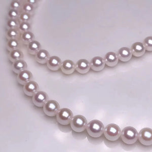 "5.5-6.0 mm AAA Baby White Akoya Pearl Necklace 18"" with Solid 18-Karat Yellow Gold Chain - takaramonobr"