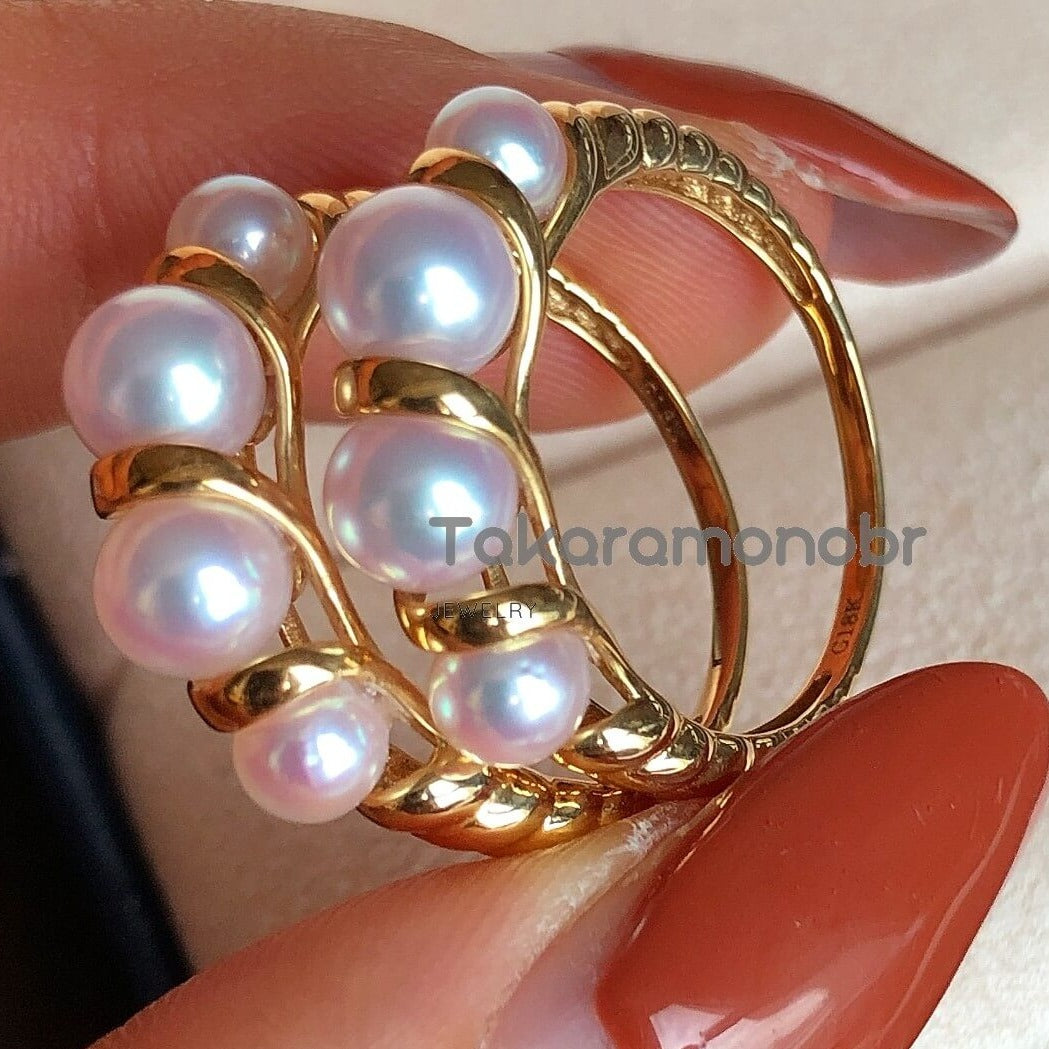 real pearls ring saltwater pearl