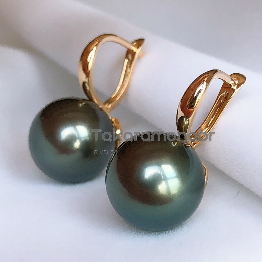 12.0-13.0 mm Tahitian Black Pearl Earrings Mounted on Solid 18-Karat Yellow/White Gold - takaramonobr